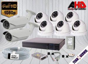 8 kamera hd güvenlik kamera sistemi