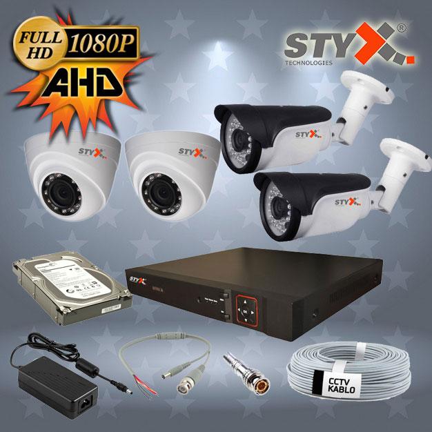 4 kamera iç ve dış mekan ahd güvenlik kamera sistemi