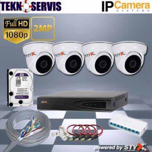 iç mekan ip kamera sistemi 4 kamera dome